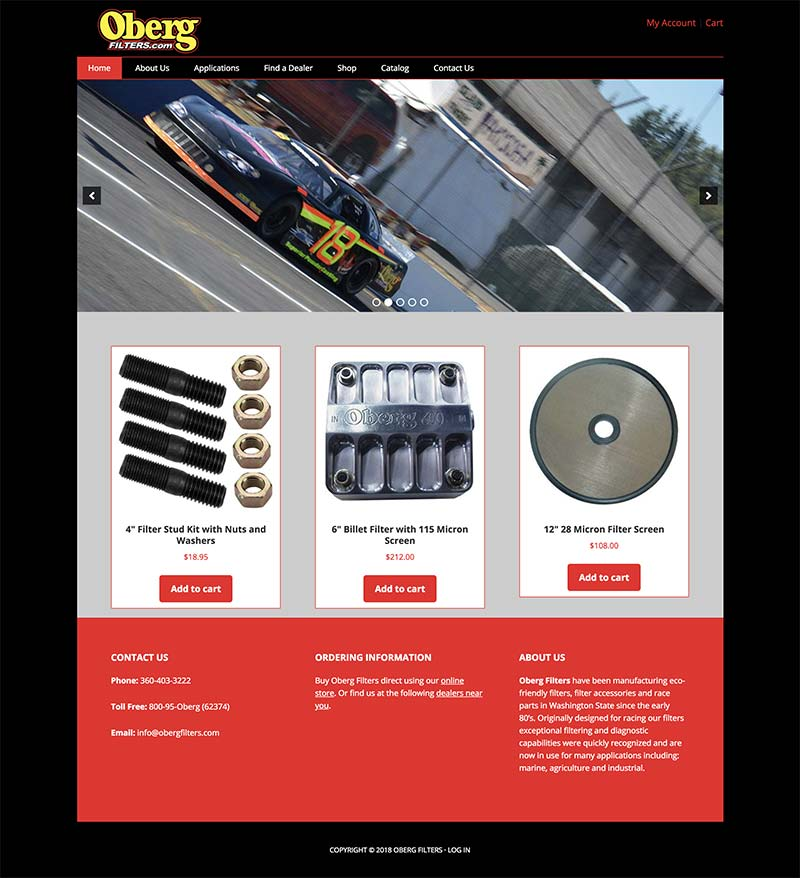 Oberg Filters website redesign