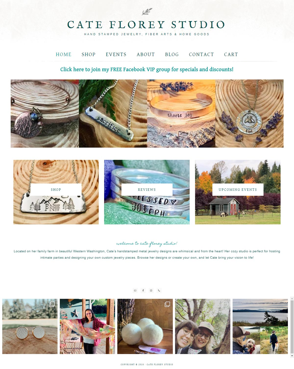 cate florey studio website homepage